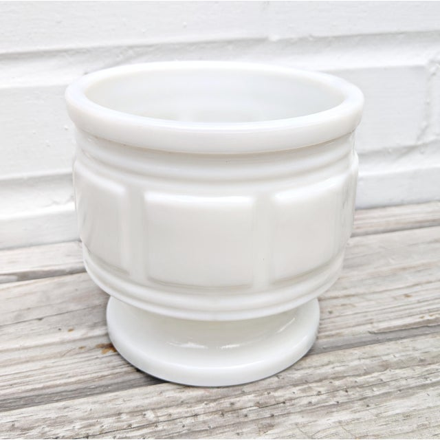 Classic round milk glass pot with square motif. Adds to a collection or beautiful alone with a pop of greenery. No drain...