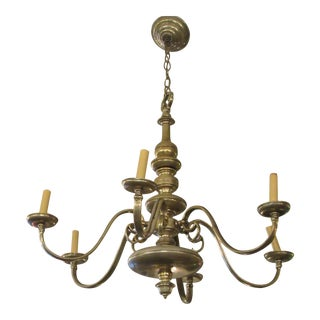 Brass Silver Plated Six Arm Chandelier For Sale