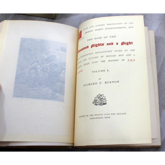 English Antique Limited Edition 380/1000 Series Burton Books of 1000 Nights & a Night - Set of 17 For Sale - Image 3 of 5