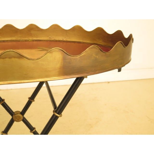 Traditional Traditional Sarried Tole Paint Decorated Serving Tray Table For Sale - Image 3 of 13