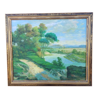 Late 20th Century Original Countryside River Landscape Oil Painting For Sale