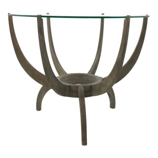 Mid-Century Modern Style Arteriors Oswald Ash Wood and Glass Tripod Leg End Table For Sale