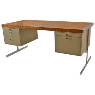 Mid-Century Steel and Oak Desk For Sale