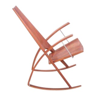 Studio Rocking Chair by Leon Mayer in Solid Walnut For Sale
