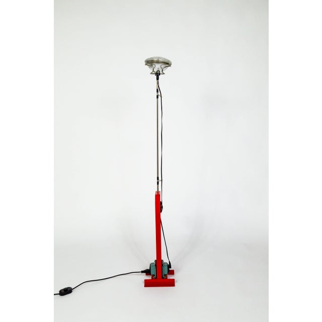 Flos Castiglioni Toio Industrial Red Floor Lamp by Flos For Sale - Image 4 of 12