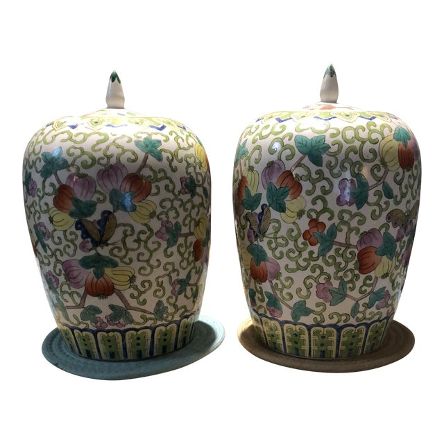 Hand Painted Ginger Jars Imported, China - a Pair For Sale