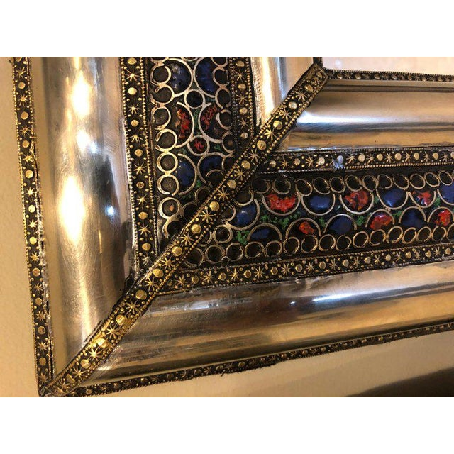Pair of Moroccan Hollywood Regency Style Silver & Brass Console or Wall Mirrors For Sale - Image 4 of 11