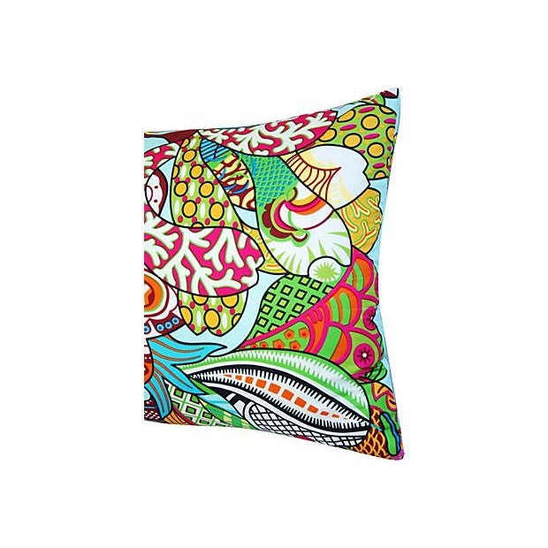 Large Custom Colorful Silk Floral Lumbar Pillow - Image 2 of 7