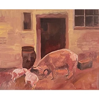 """""""Pigs"""" Impressionist Style Rural Scene Oil Painting For Sale"""