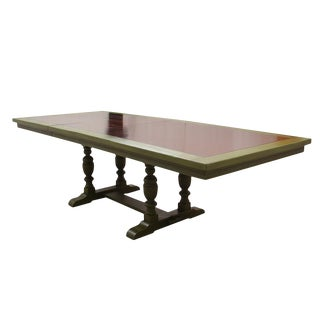 Traditional Solid Wood Pedestal Dining Table With Green Accenting For Sale