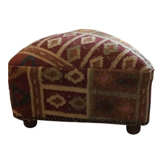 Triangular Wool Dhurrie Ottoman For Sale