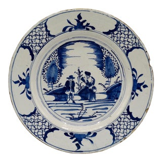 Antique Delft Chinoiserie Charger With Figures For Sale