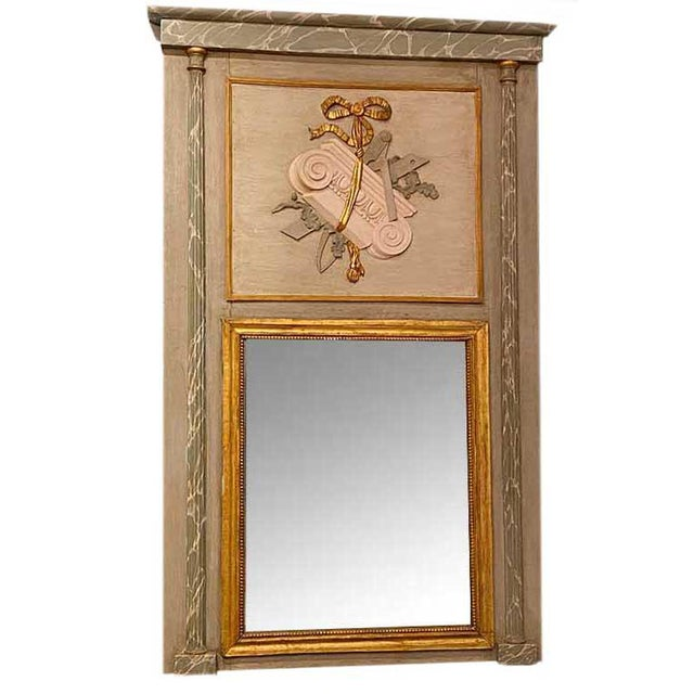 19th Century French Painted Trumeau Mirror For Sale - Image 9 of 9