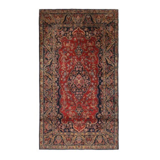 Antique Kashan Traditional Red and Navy Blue Wool Persian Rug With Tree of Life Motifs 4′1″ × 6′4″ For Sale
