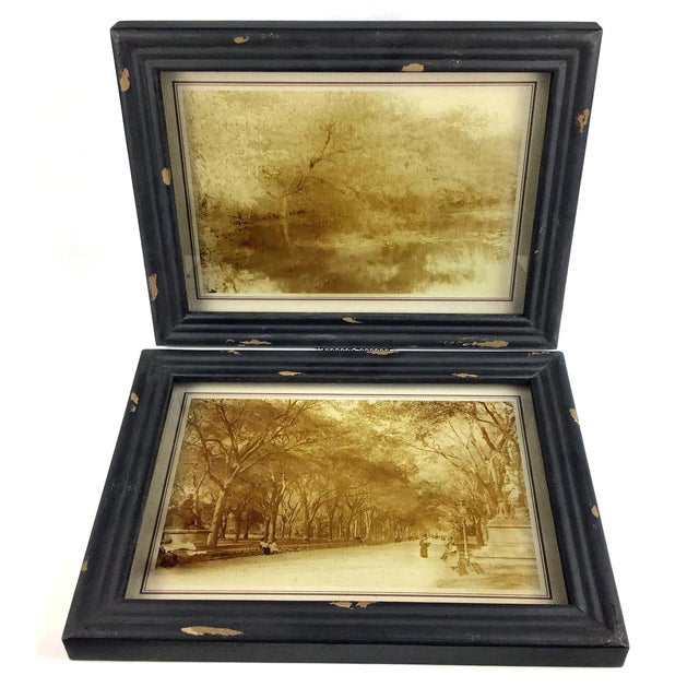 Rustic Framed Reversed Screen Prints on Glass - a Pair For Sale - Image 4 of 7