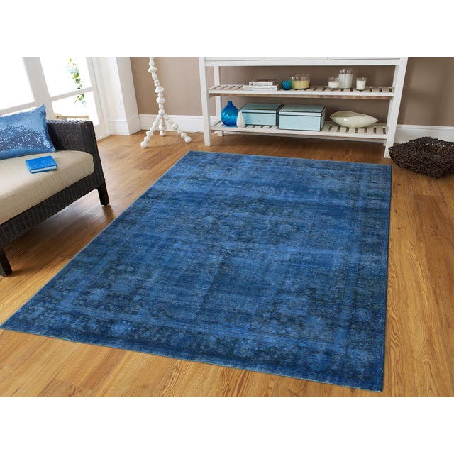 "Blue Vintage Overdyed Rug - 9'7"" X 12'7"" - Image 3 of 3"