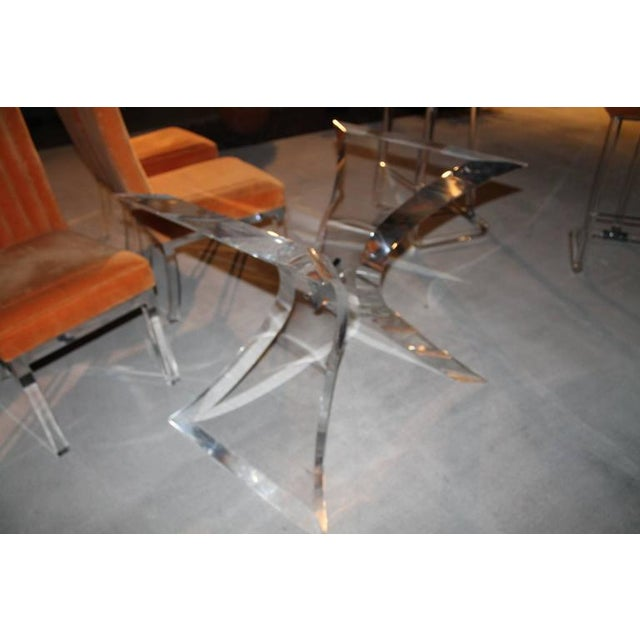 Vintage Lucite & Chrome Butterfly Dining Table Base Desk For Sale In West Palm - Image 6 of 10