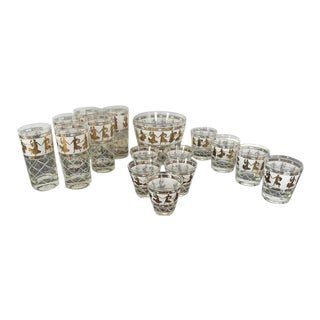 Greek Themed Gold Bar Glasses and Ice Bucket - 16 Pieces Set For Sale