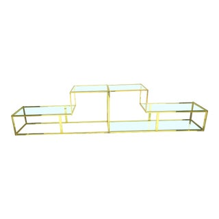 "1970s Mid-Century Modern Milo Baughman ""Geometric"" Console - 2 Pieces For Sale"