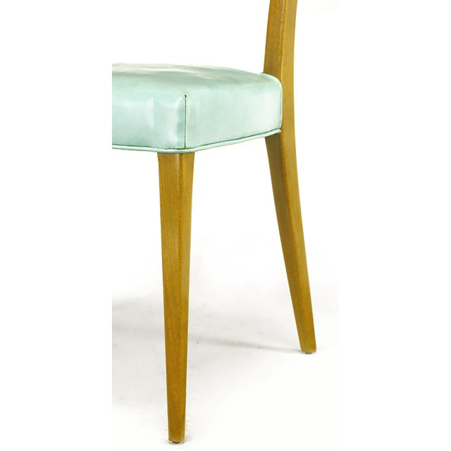 Harvey Probber Tiffany Blue Leather and Mahogany Side Chair - Image 8 of 9