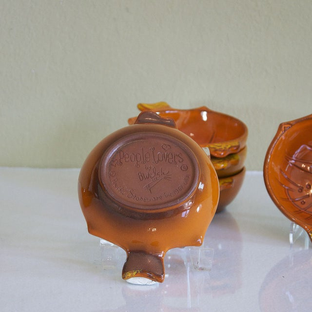 Vintage Orange Kitty Face Pottery Bowls - Set of 6 - Image 4 of 5