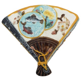 19th Century Japanese S.Fielding & Company Majolica Fan Box For Sale