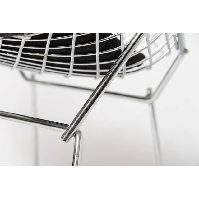 "Late 20th Century Bertoria ""Diamond Chair"" in Polished Chrome With Black Upholstery For Sale - Image 5 of 11"
