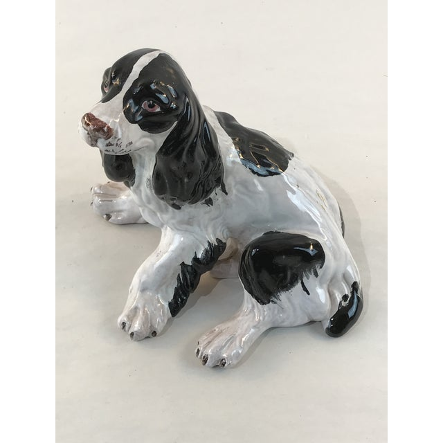 Vintage Italian Majolica Spaniel Dog Figurine For Sale - Image 10 of 10
