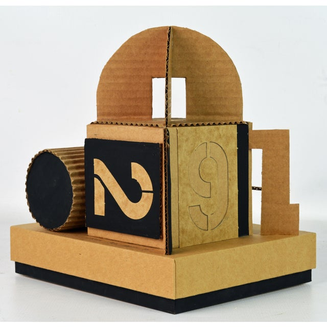 Black Cubist Bauhaus Style Architectural Cardboard Table Sculpture by Virgil Greca For Sale - Image 8 of 13