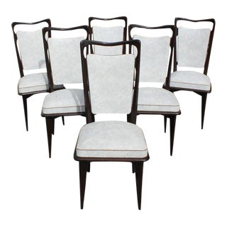 1940s French Art Deco Solid Macassar Ebony Dining Chairs - Set of 6