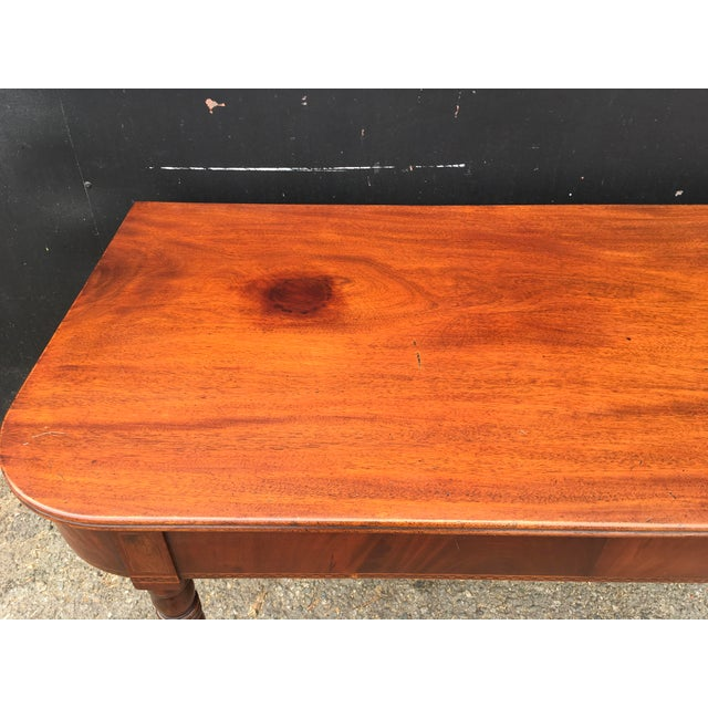 Mid 19th Century Antique English Walnut Writing Desk on Brass Casters For Sale - Image 5 of 11