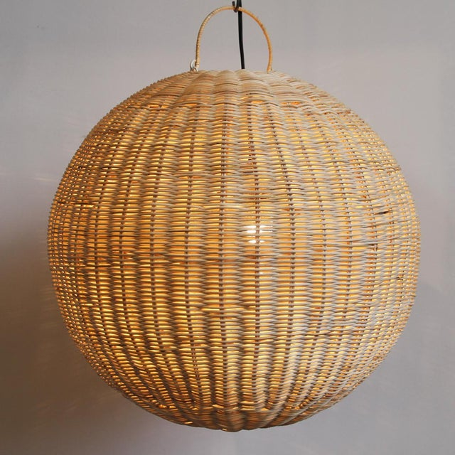 Contemporary Raw Rattan Globe Lantern Large For Sale - Image 3 of 5