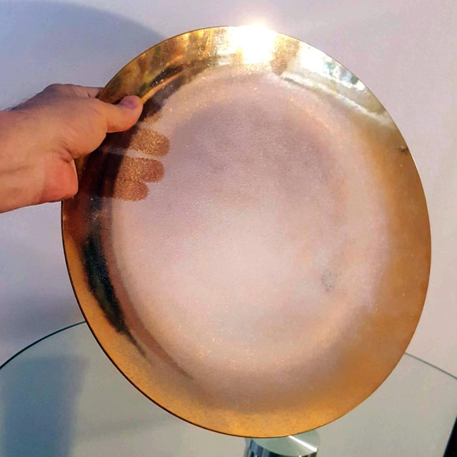 1940s 1940s Art Deco Gold Lame Reflective Paper-Thin Textured Translucent Glass Decorative Plate For Sale - Image 5 of 8