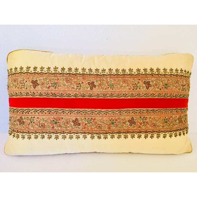 Decorative Ivory Color Silk Throw Pillow Embellished With Beads For Sale - Image 10 of 10