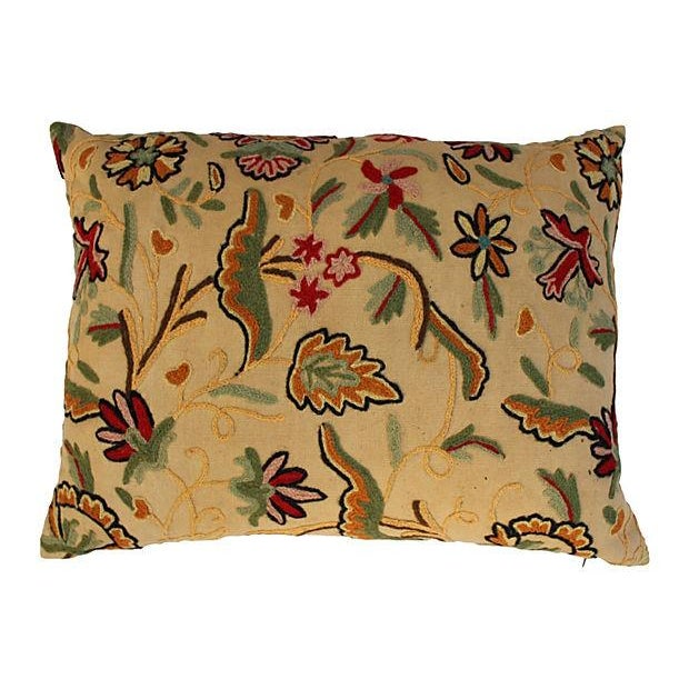 English Crewelwork Floral Pillows - Pair - Image 2 of 6