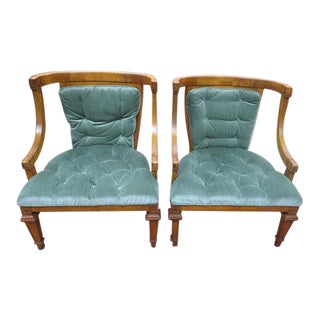 Vintage Mid Century Modern Pair of Tufted Fruitwood Lounge Chairs- a Pair For Sale