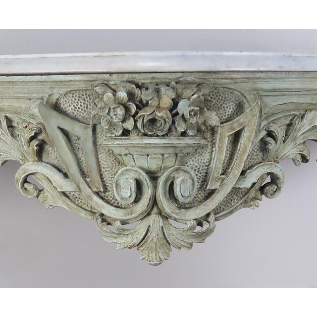 19th Century French Rococo Style Painted Console With Carrara Marble Top For Sale - Image 10 of 13