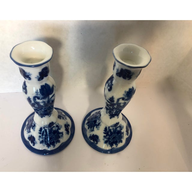 1990s Chinioserie Blue & White Porcelain Candlesticks - a Pair For Sale - Image 4 of 6