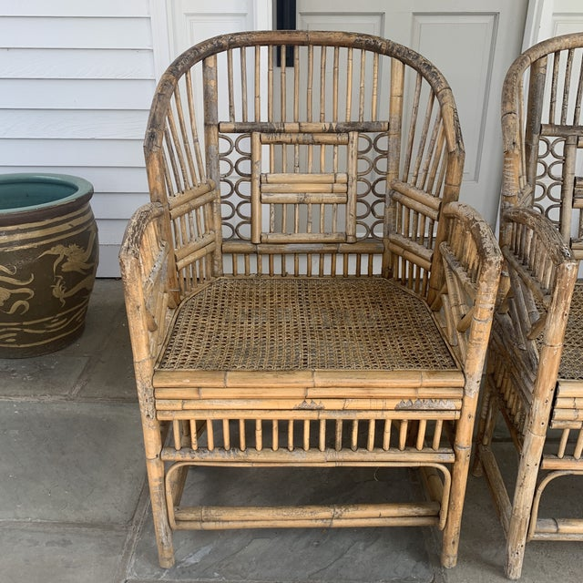 Chinoiserie Pair of Vintage Bamboo Brighton Chairs For Sale - Image 3 of 11
