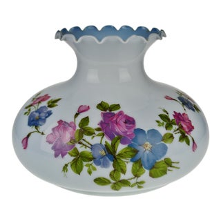 "Vintage 13"" Decorative Powder Blue Floral Glass Lamp Shade"