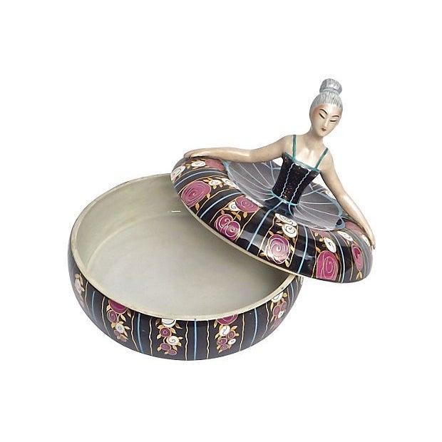 Robj Art Deco Porcelain Ballerina Box For Sale - Image 4 of 4