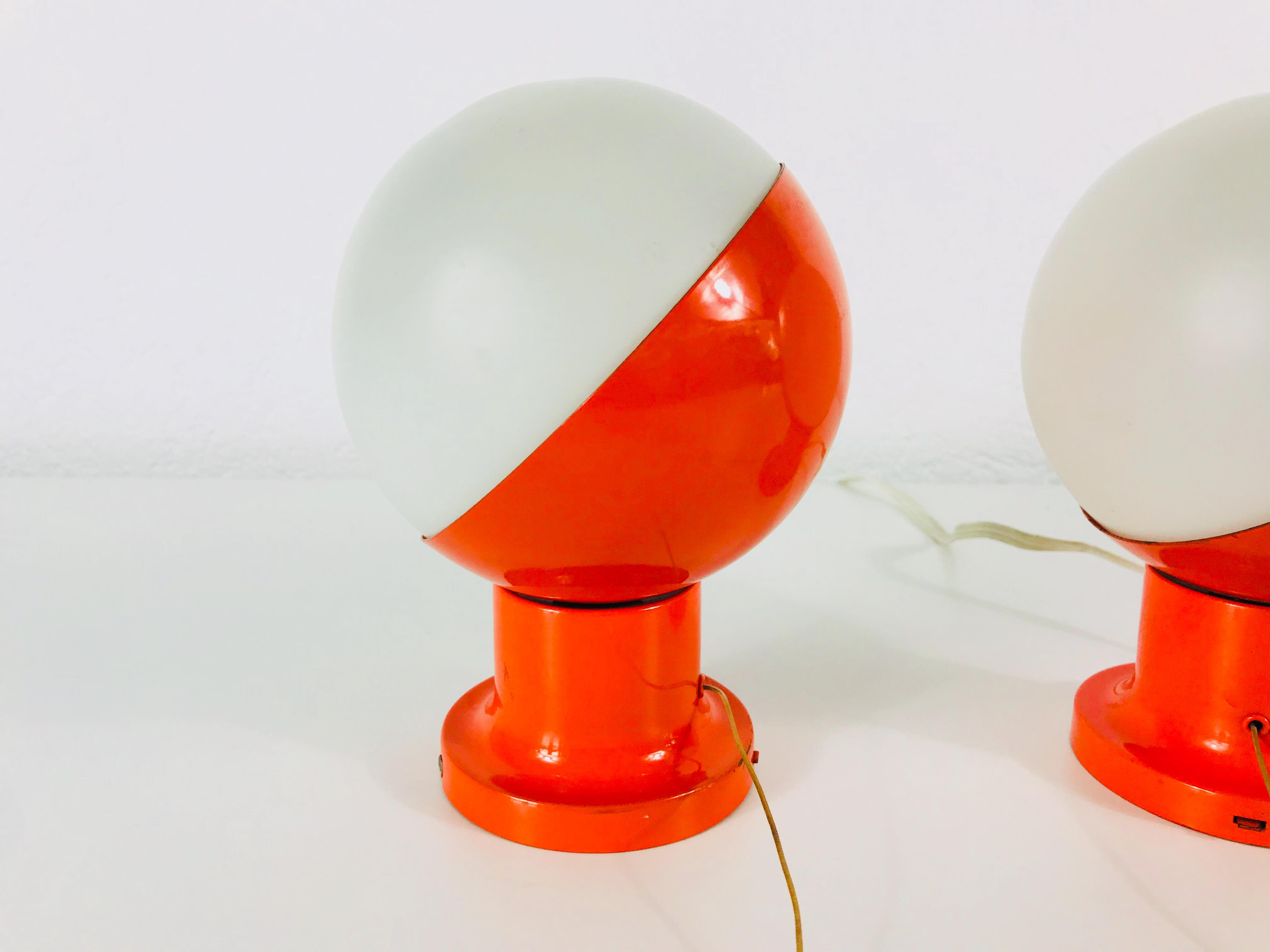 Kaiser lamp Midcentury opal Glas red colour stand lamp 60s 4 armed Kaiser lamp amazing vintage condition Metall Body-1960s- desk lamp