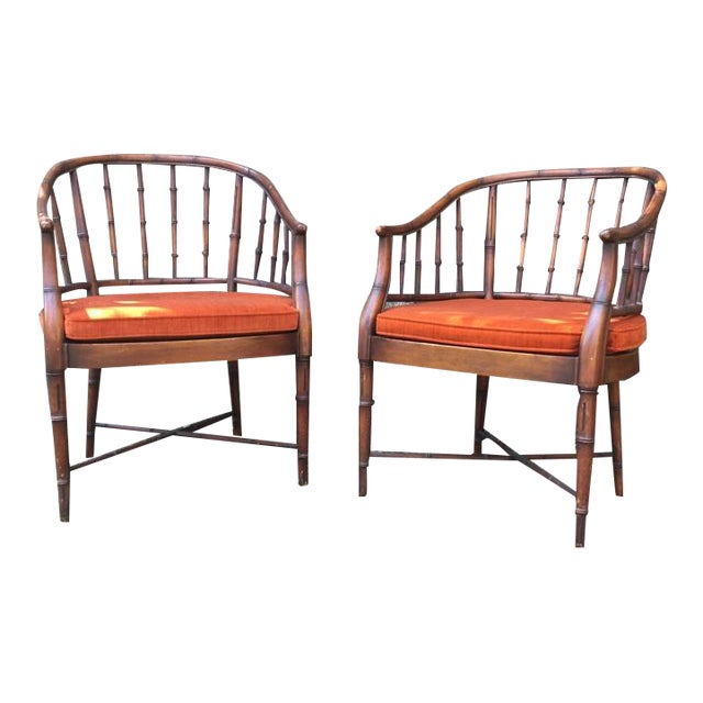 Bamboo Chairs & Orange Cushions - Pair - Image 1 of 5