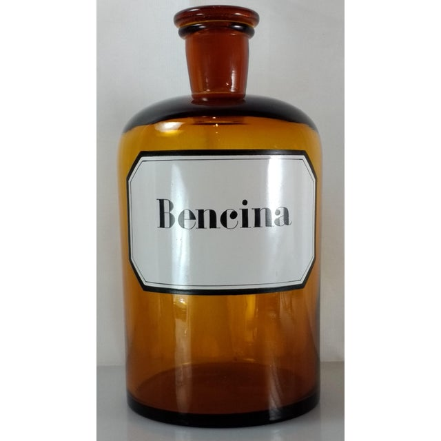 Vintage Amber Glass Bencina Apothecary Bottle - Image 5 of 10