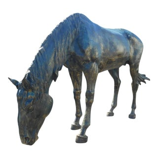 Impressive Lifesize Cast Iron Horse Statue For Sale