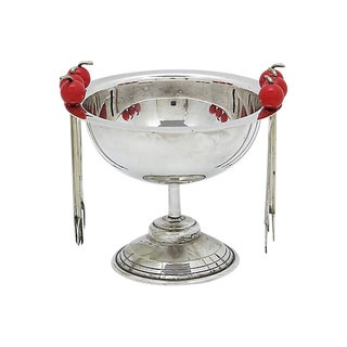 French Condiment Server, W/Cherries, 7Pc For Sale