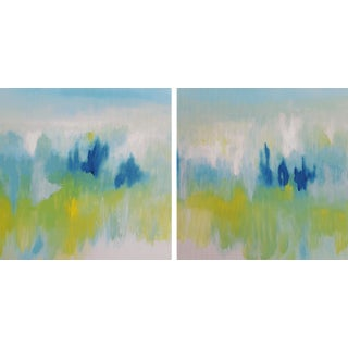 Modern Expressive Original Art Painting Bright Blue Yellow Canvas Ready to Hang 'It Must Be Love' Diptych Paintings - Set of 2