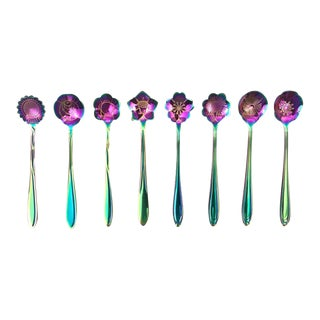 Flower Design Teaspoons, Set of 8 For Sale