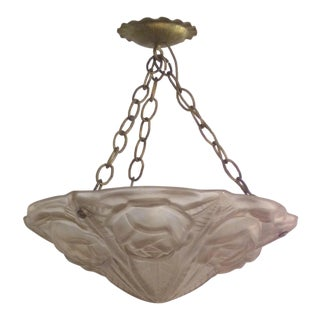 French Art Deco Cast Mauve Glass Pendant Chandelier Signed Degue C1930 For Sale