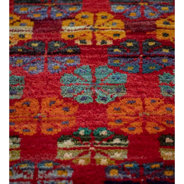 Textile Mid 20th Century Vintage Floral Tomato-Red Handwoven Wool Turkish Rug For Sale - Image 7 of 9